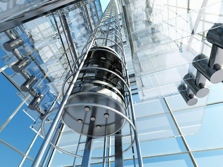 20454478 - the interior of a modern building with an elevator.